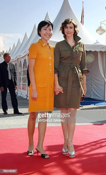 South Korean film director Gina Kim and US actress Vera Farmiga pose before the presentation of the movie Never Forever during the 33rd US Film...
