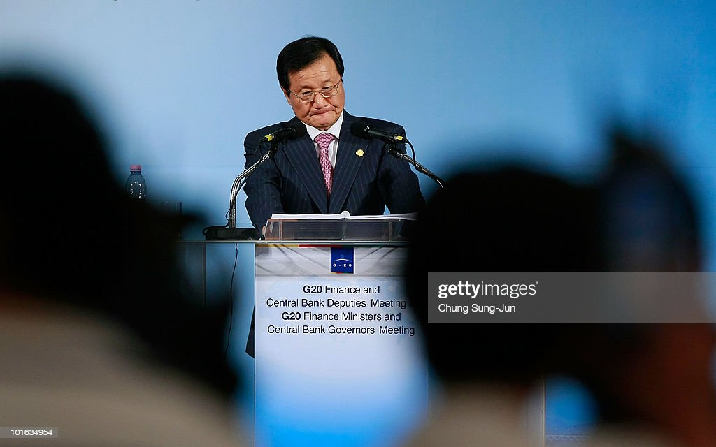 South Korean Finance Minister Yoon Jeung-Hyun during a press conference at the G-20 Financial Ministers and Central Governors meeting at Grand Hotel on June 5, 2010 in Busan, South Korea. G-20 countries discussed to tackle financial crisis caused by IMF's intervention to Greece and to achieve sustainable global growth.