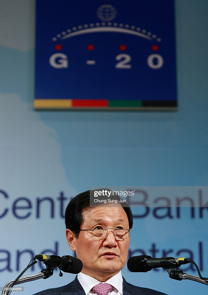South Korean Finance Minister Yoon Jeung-Hyun speaks during a press conference at the G-20 Financial Ministers and Central Governors meeting at Grand Hotel on June 5, 2010 in Busan, South Korea. G-20 countries discussed to tackle financial crisis caused by IMF's intervention to Greece and to achieve sustainable global growth.