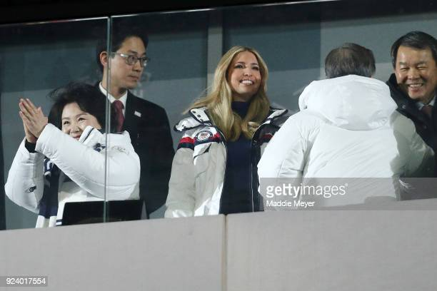South Korean first lady Kim Jung-sook and Ivanka Trump attend the Closing Ceremony of the PyeongChang 2018 Winter Olympic Games at PyeongChang...