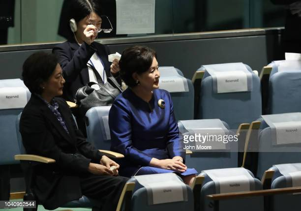 South Korean First Lady Kim Jungsook wife of the president of South Korea Moon Jaewatches her husband's address at the United Nations General...