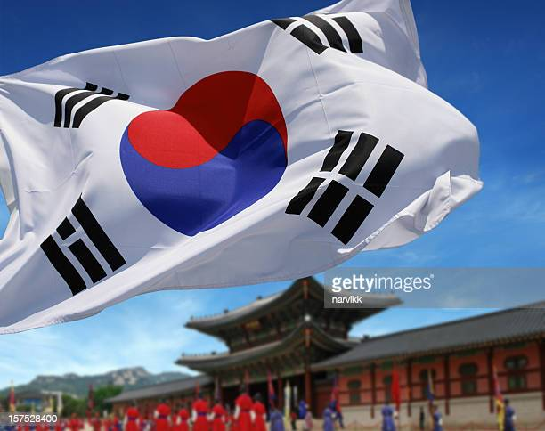 south korean flag in front of gyeongbokgung palace - south korea stock pictures, royalty-free photos & images