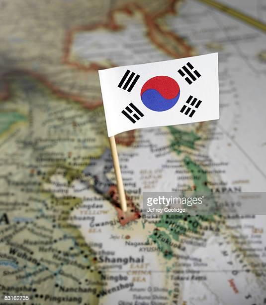 South Korean flag in map