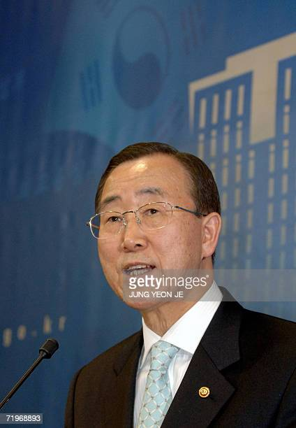 South Korean Foreign Minister Ban KiMoon speaks during a joint press conference with United Nations SecretaryGeneral Kofi Annan at the Foreign...