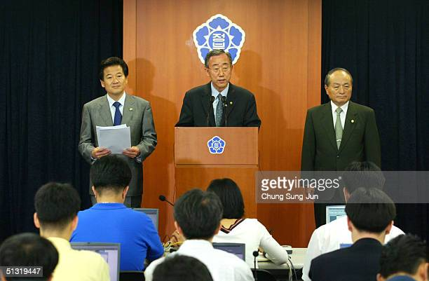 South Korean Foreign Minister Ban KiMoon speaks during a press conference to reconfirm South Korea's policy of not developing or possessing nuclear...
