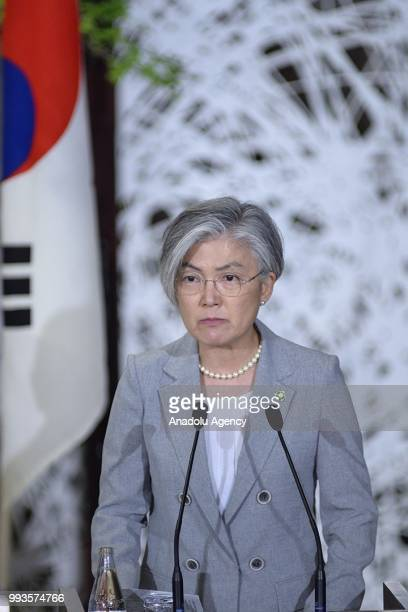 South Korean Foreign Minister Kang Kyung Wha answers to a journalist as she attends a joint press conference with Japan's Foreign Minister Taro Kono...