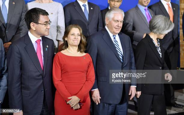 South Korean Foreign Minister Kang Kyung Wha prepares to leave alongside US Secretary of State Rex Tillerson Canadian Foreign Minister Chrystia...