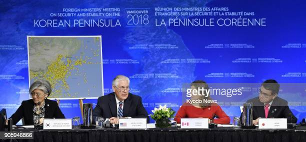 South Korean Foreign Minister Kang Kyung Wha US Secretary of State Rex Tillerson Canadian Foreign Minister Chrystia Freeland and Japanese Foreign...