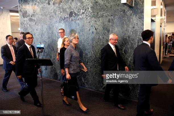 South Korean Foreign minister Kang Kyungwha arrives for her meeting with United Nations SecretaryGeneral Antonio Guterres at United Nations...