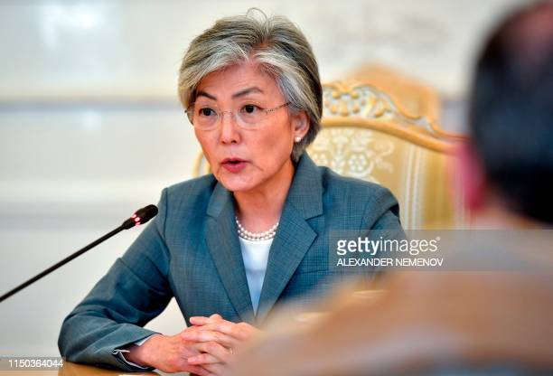 South Korean Foreign Minister Kang Kyungwha attends a meeting with her Russian counterpart in Moscow on June 17 2019