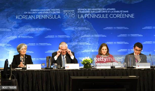 South Korean Foreign Minister Kang Kyungwha US Secretary of State Rex Tillerson Canadian Foreign Minister Chrystia Freeland and Japanese Foreign...