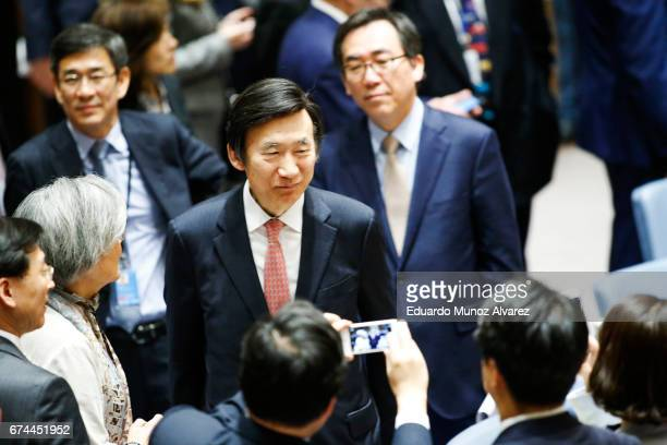 South Korean Foreign Minister Yun Byung Se arrives to attend a security council meeting on nonproliferation of North Korea at United Nations on April...