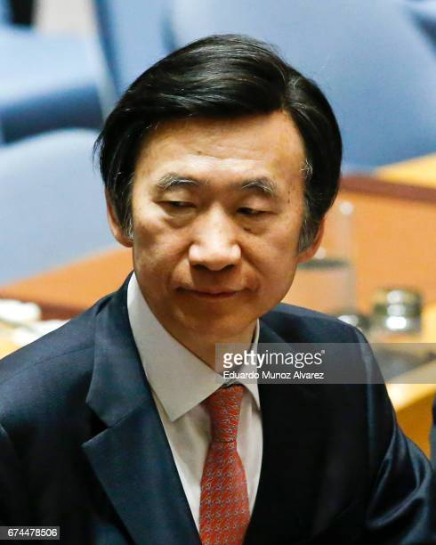 South Korean Foreign Minister Yun Byung Se exits at the end of the security council meeting on nonproliferation of North Korea at United Nations on...