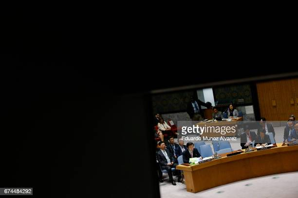 South Korean Foreign Minister Yun Byung Se speaks to members of the security council during a meeting on nonproliferation of North Korea at United...