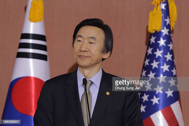South Korean Foreign minister Yun Byung-Se attends a joint press conference with U.S. Secretary Of State John Kerry on April 12, 2013 in Seoul, South...