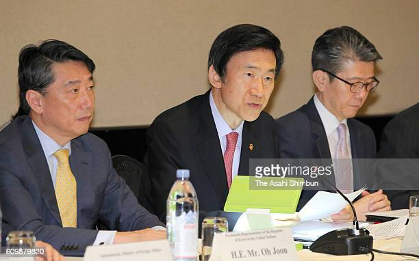South Korean Foreign Minister Yun Byung-se talk during his meeting with U.S. Secretary of State John Kerry and Japanese Foreign Minister Fumio...