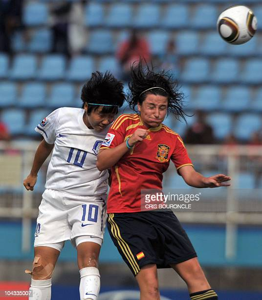 South Korean forward Min Ji Yeo vies for the ball with Spanish defense Ivana Andres during the FIFA Women's Under17 semifinal match played on...