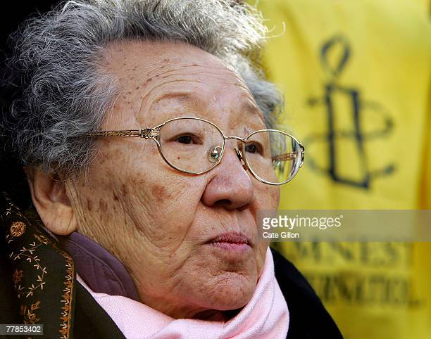 South Korean Gil Won Ok leads a protest outside the Japanese Embassy on November 12 2007 in London England Gil was among the 'comfort women' held as...