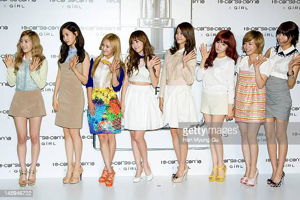 South Korean girl group, Girls' Generation pose for media at a launching party for collaboration between '10 Corso Como' and perfume 'Girl' on June...