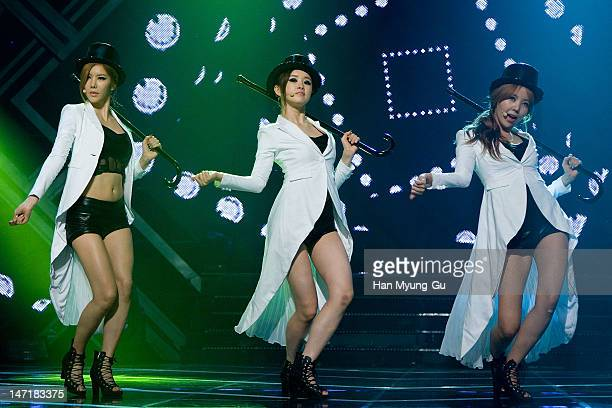South Korean girl group JungA EYoung and Raina of After School attend the MBC Music 'Show Champion' at AX Korea on June 26 2012 in Seoul South Korea