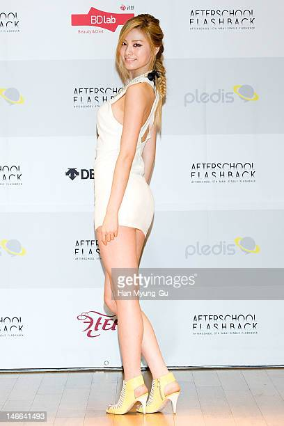 South Korean girl group Nana of After School poses for media before a press conference to promote their 5th Maxi Single 'Flashback' at Olleh Square...