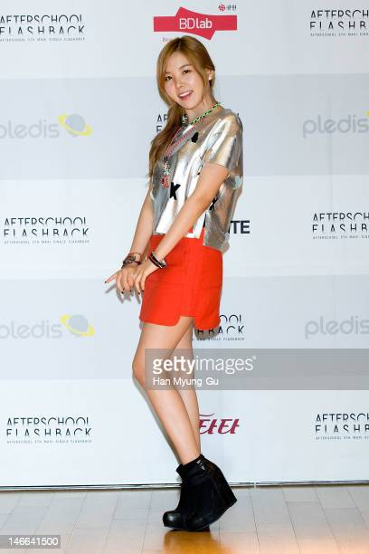 South Korean girl group Raina of After School poses for media before a press conference to promote their 5th Maxi Single 'Flashback' at Olleh Square...