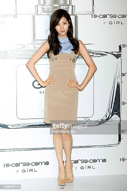 South Korean girl group, Seohyun of Girls' Generation poses for media at a launching party for collaboration between '10 Corso Como' and perfume...
