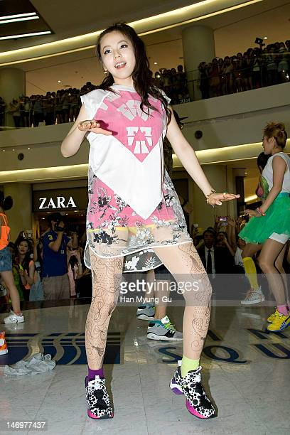 South Korean girl group Sohee of Wonder Girls attends during the Like This Flashmob With Wonder Girls at Times Square on June 24 2012 in Seoul South...