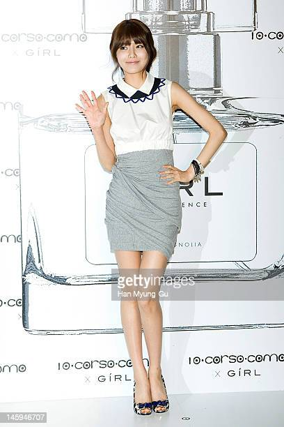 South Korean girl group Sooyoung of Girls' Generation poses for media at a launching party for collaboration between '10 Corso Como' and perfume...