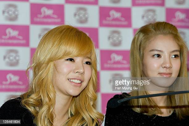 """South Korean Girl Group, Sunny of Girls' Generation talks to Media during at the """"Girls' Generation"""" press conference at the Seoul Foreign..."""
