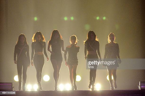 South Korean girl group Tara perform onstage during a concert at Hefei Sports Center on October 24 2015 in Hefei Anhui Province of China