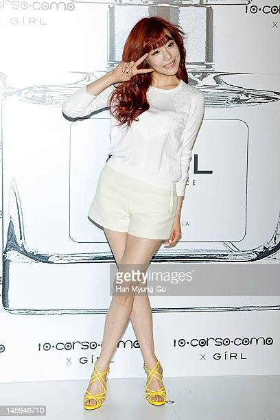South Korean girl group, Tiffany of Girls' Generation poses for media at a launching party for collaboration between '10 Corso Como' and perfume...