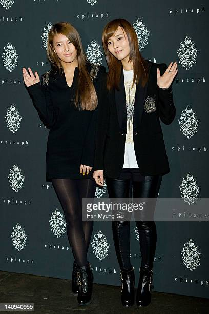 South Korean girl group Yubin and Sun of Wonder Girls attends the 'Epitaph' Launching Party at Club Octagon on March 08 2012 in Seoul South Korea
