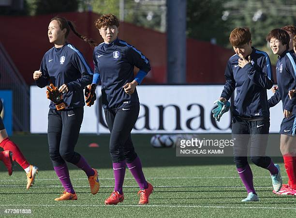 South Korean goalkeepers Kim Jungmi Jun Minkyung and Yoon Younggeul take part in a training session at Lansdowne Stadium in Ottawa on June 16 2015 on...