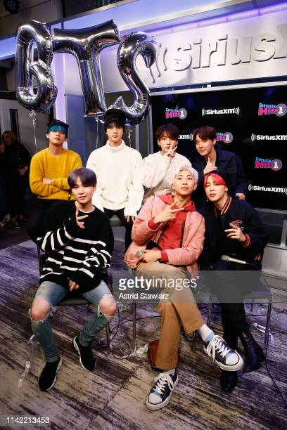 South Korean group BTS visit 'The Morning Mash Up' On SiriusXM Hits 1 Channel at SiriusXM Studios on April 12 2019 in New York City