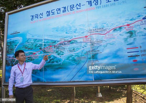 South Korean guide showing a Dorasan map area North Hwanghae Province Panmunjom South Korea on September 8 2017 in Panmunjom South Korea