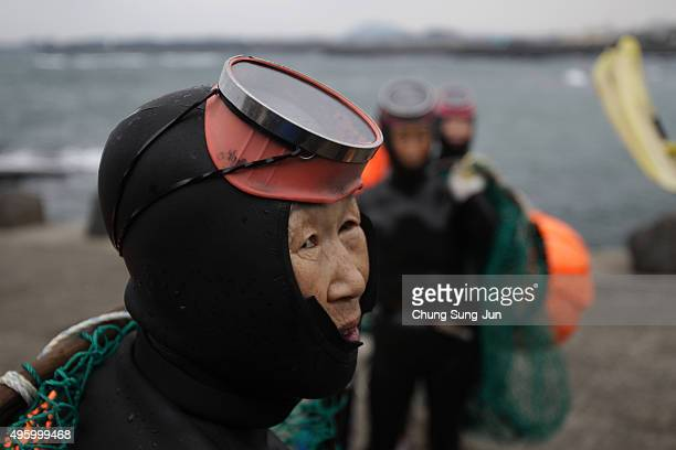 South Korean haenyeo prepare for swimming to catch turban shells and abalones on November 6 2015 in Jeju South Korea 'Haenyeo' or Sea Women are the...