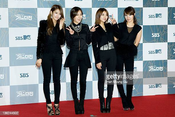 South Korean idol girl group 4minute attend the 2011 SBS Korea Pop Music Festival at Ilsan Kintex on December 29 2011 in Gyeonggido South Korea