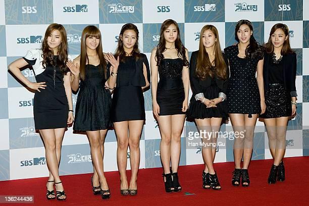 South Korean idol girl group A Pink attend the 2011 SBS Korea Pop Music Festival at Ilsan Kintex on December 29 2011 in Gyeonggido South Korea