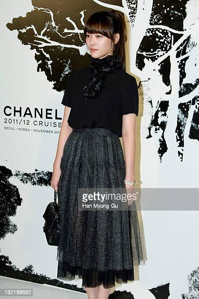 South Korean idol girl group member Sulli of f arrives for the 2011/12 Cruse Collection by Chanel at AXKorea on November 10 2011 in Seoul South Korea...