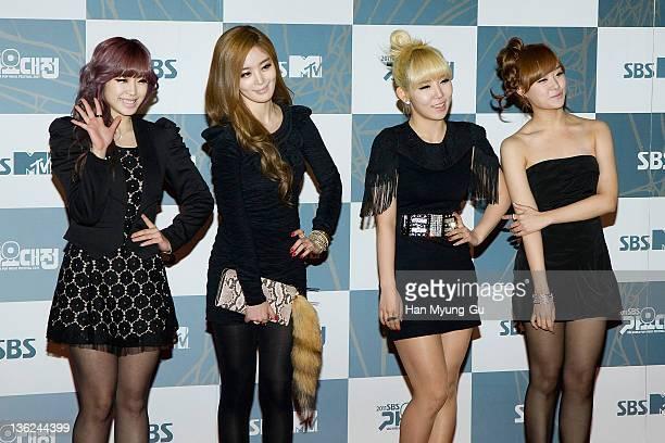 South Korean idol girl group Secret attend the 2011 SBS Korea Pop Music Festival at Ilsan Kintex on December 29 2011 in Gyeonggido South Korea
