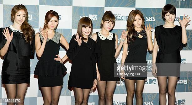 South Korean idol girl group Tara attend the 2011 SBS Korea Pop Music Festival at Ilsan Kintex on December 29 2011 in Gyeonggido South Korea
