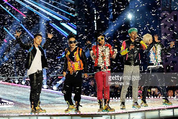 South Korean idol group Big Bang perform on the stage during a concert at the KPOP Fashion Concert on March 11 2012 in Seoul South Korea