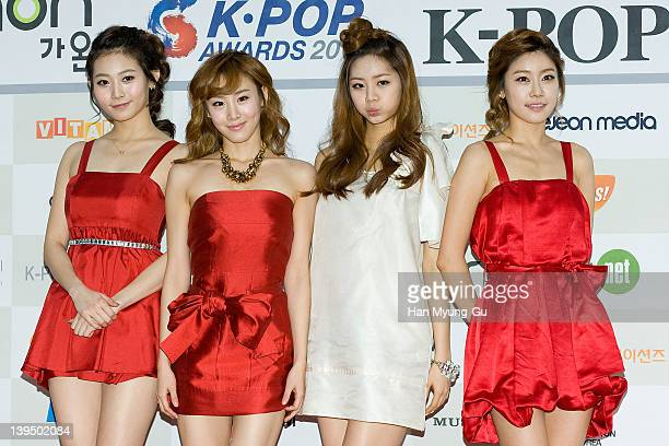South Korean idol group Girls Day arrive during the 1st Gaon Chart K-POP Awards at Blue Square on February 22, 2012 in Seoul, South Korea.