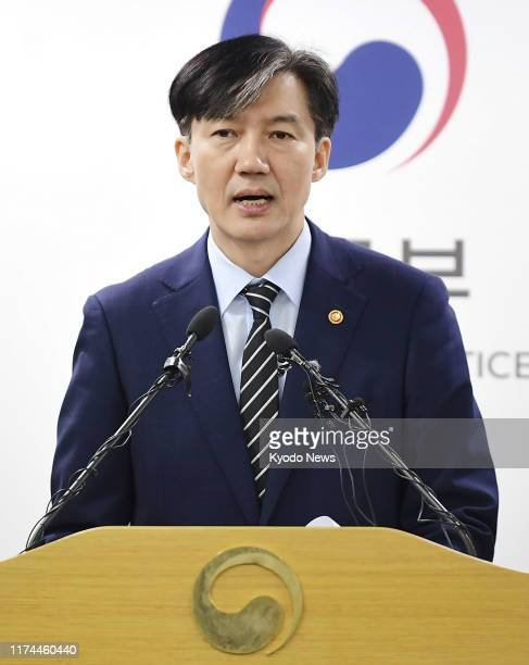 South Korean Justice Minister Cho Kuk speaks at a press conference near Seoul on Oct 8 2019