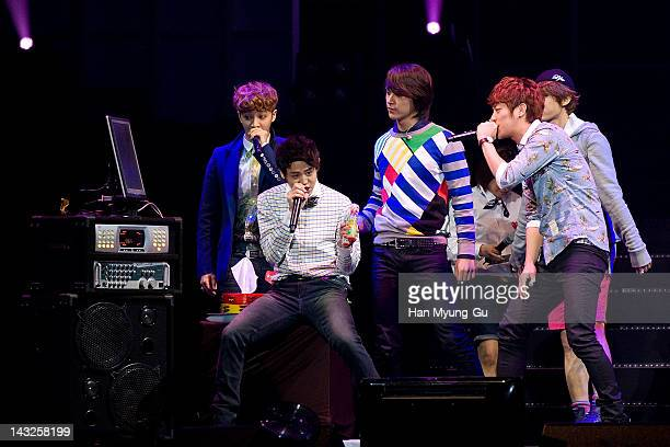 South Korean KPop idol group Beast attends a meeting with fans on April 22 2012 in Seoul South Korea