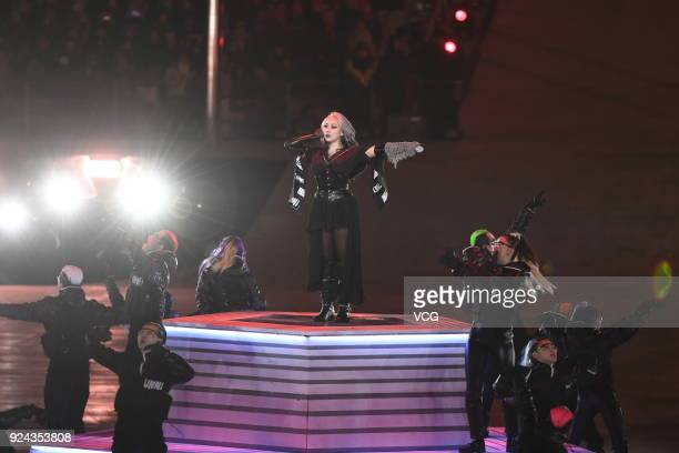 South Korean K-Pop singer CL performs during the Beijing segment during the Closing Ceremony of the PyeongChang 2018 Winter Olympic Games at...