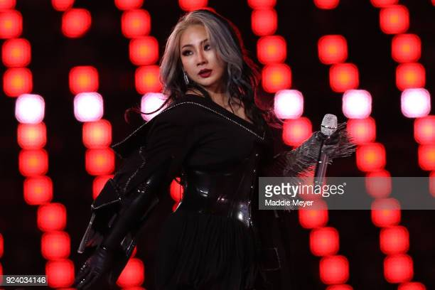 South Korean KPop singer CL performs during the Closing Ceremony of the PyeongChang 2018 Winter Olympic Games at PyeongChang Olympic Stadium on...
