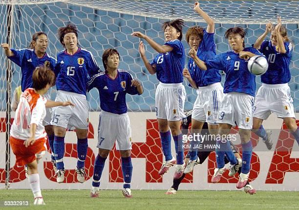 South Korean Lee JiEun kicks the ball during an East Asian Football Federation Women's Cup match against Japan in Daegu World Cup Stadium southeast...