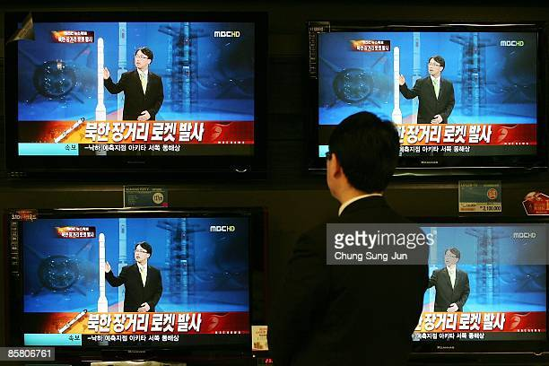 South Korean man watchs news coverage of a North Korean rocket launch on April 5 in Seoul South Korea The first stage of the long range rocket fell...